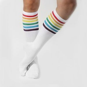 Accessories - Rainbow Stripe Sport Socks White NEW